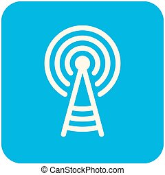 Transmitter tower icon (flat design with long shadows)
