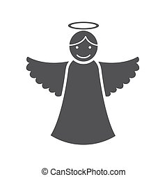 Christmas angel icon (flat design with long shadows)