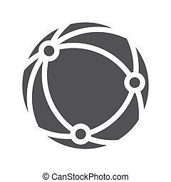 Global network icon flat design