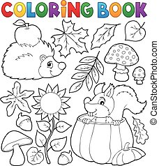 Coloring book autumn nature theme 1 - eps10 vector...