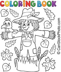 Coloring book scarecrow theme 1 - eps10 vector illustration
