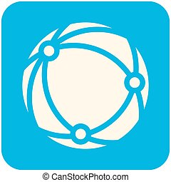 Global network icon (flat design with long shadows)