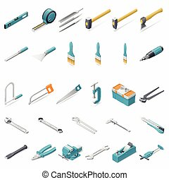 Building hand tools icon set - Building hand tools isometric...