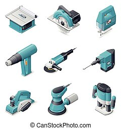 Construction electric tools icon set - Construction electric...