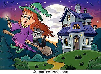 Cute witch on broom near haunted house - eps10 vector...