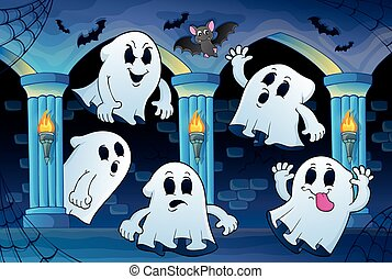 Ghosts in haunted castle theme 2 - eps10 vector...