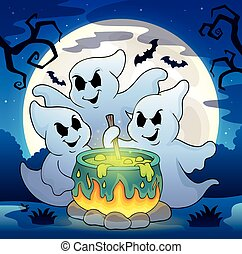 Ghosts stirring potion theme image 2 - eps10 vector...