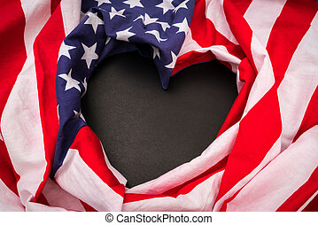 Heart shape American flag on black background