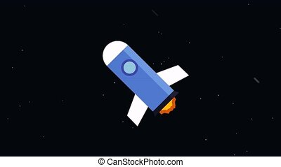 Rocket flies into space - Flying in a space rocket