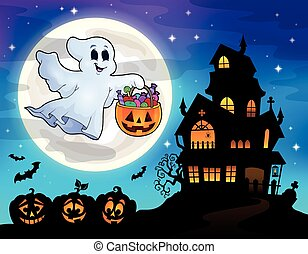 Halloween ghost near haunted house 2 - eps10 vector...