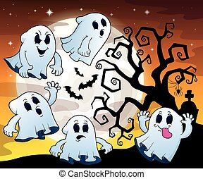Halloween image with ghosts