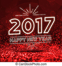 2017 happy new year on Abstract red glitter perspective...