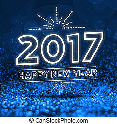 2017 happy new year on Abstract blue glitter perspective...