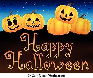 Happy Halloween sign with pumpkins 1