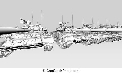 Multiple battle tanks side by side, sketchy animation. Seamless loop able 4K clip