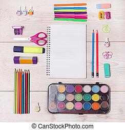 School supplies on desk - Top view of tidy desk with blank...
