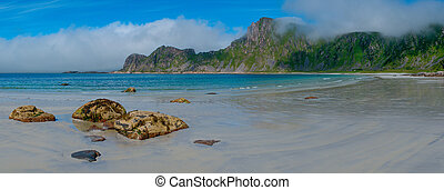 View to Hoyvika beach in Norway, Lofoten islands - View to...