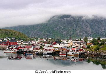 Fishing village on Lofoten Islands in Norway - Foggy weather...
