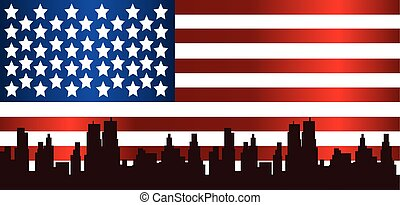 Vector Patriot Day, with usa flag and city