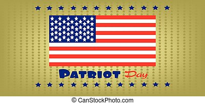 Vector Patriot Day, with usa flag and stars over khaki...