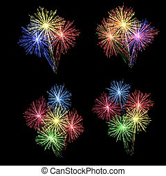 A set of colorful fireworks in honor of the holiday on a black background. illustration.
