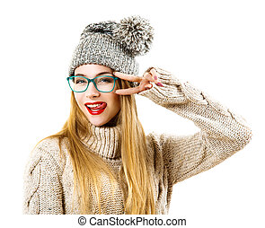 Winter Hipster Girl Going Crazy. Isolated on White - Funny...
