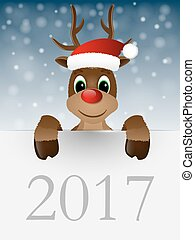 Reindeer with red nose and Santa hat. Vector illustration.
