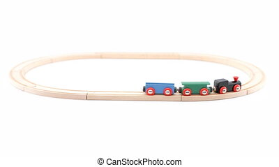 looping train - loop of childrens train on white