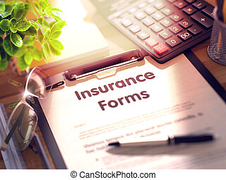 Clipboard with Insurance Forms. 3D Illustration. - Desk with...