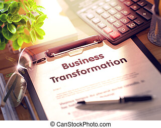 Business Transformation Concept on Clipboard. 3D...