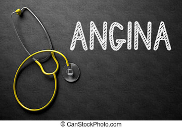 Angina Concept on Chalkboard. 3D Illustration. - Medical...