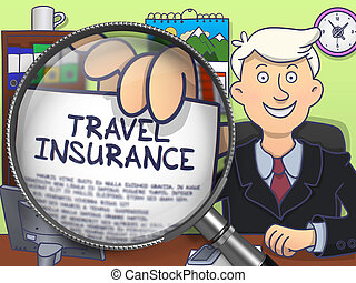 Travel Insurance through Magnifying Glass. Doodle Concept. -...