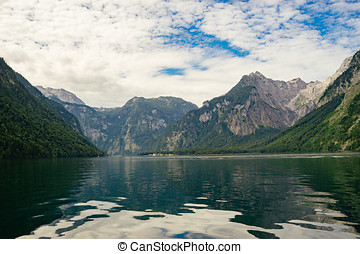 Lake Konigssee, Bavaria, Germany - Lake Konigssee against...