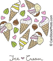 ice cream cones - vector hand drawn ice cream, circle...