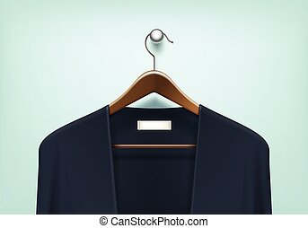 Vector Clothes Wooden Hanger with Cardigan Jumper - Vector...