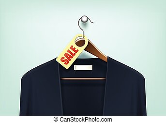 Clothes Hanger with Cardigan Sale Blank Tag Label - Vector...