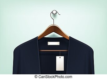 Clothes Hanger with Cardigan Blank Tag Label - Vector...
