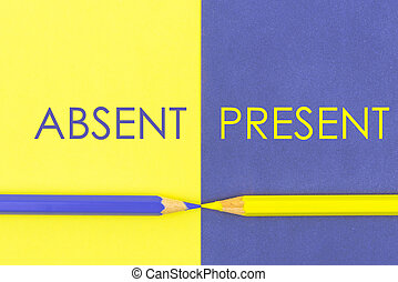 Absent versus Present contrast concept . Yellow and Violet...