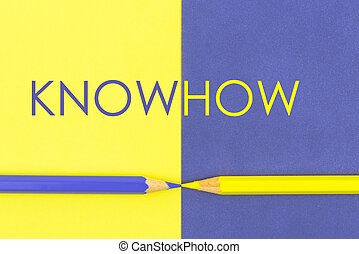 KnowHow concept with Yellow and Violet coloured pencils and...