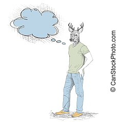 Skech of hipster deer with a empty speech bubble on White Backgroud