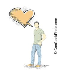 Skech of Young Man with a empty speech bubble on White Backgroud