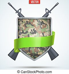 Camouflage Shield with ribbon and rifles. Editable Vector...