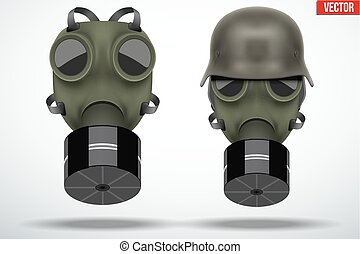 Military helmets with gas mask - Set of retro gas mask and...