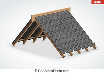 Icon of Roof with shingles bitumen roofing cover - Icon of...