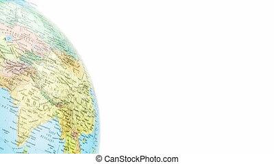 part of turning globe on white