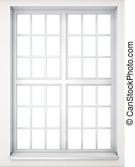 Window in a classical style close-up Front view 3D...