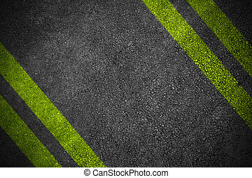 Road texture with four yellow