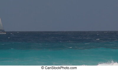 catboat in rough sea part II - catboat sailing alone in wavy...