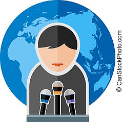 speech - Flat image of man with microphones Eps 10 Elements...