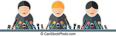 speech - Flat image of people with microphones in the...